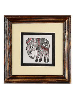 Framed Elephant Madhubani Painting - 8.2in x 8.1in