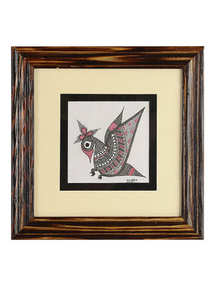 Framed Peacock Madhubani Painting - 8.1in x 8.1in