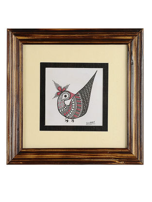 Framed Bird Madhubani Painting - 8.1in x 8.1in