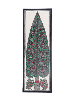 Tree of Life and Twin Fish Madhubani Painting - 22in X 7.5in