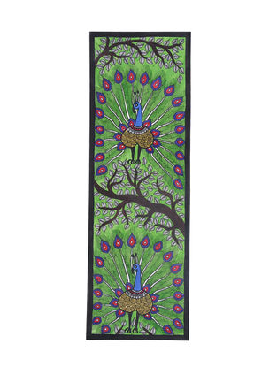 Twin Peacock Madhubani Painting - 22.2in X 7.5in