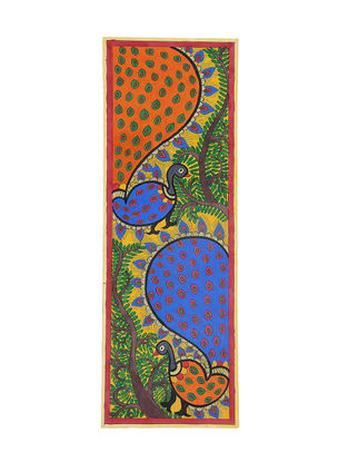 Godhna Style Peacock Madhubani Painting - 22.2in X 7.6in