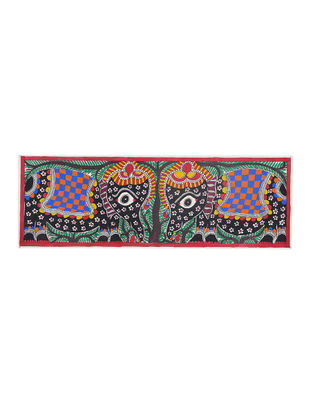 Twin Elephant Madhubani Painting - 22in X 7.5in