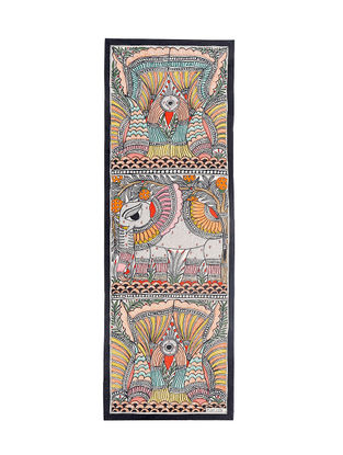 Twin Peacocks and Elephant Madhubani Painting - 22.3in X 7.5in