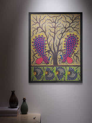 Tree of Life, Twin peacock and Fish Madhubani Painting - 30in x 22in