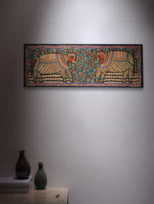Twin Elephant Madhubani Painting - 11in x 30in