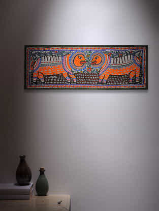 Twin Lion Madhubani Painting - 11in x 30in