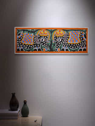 Twin Elephant Madhubani Painting - 7.5in x 22.5in