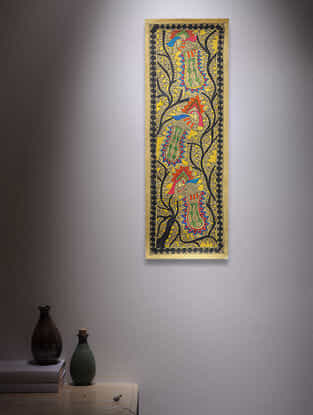 Tree of Life and Peacocks Madhubani Painting - 22.2in x 7.5in