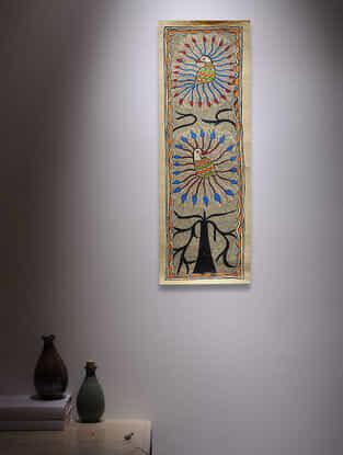 Twin Peacock Madhubani Painting - 22.5in x 7.5in