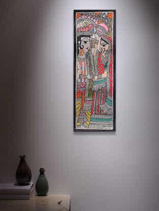 Radha Krishna Madhubani Painting - 14.7in x 5.5in