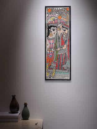 Radha KrishnaMadhubani Painting - 14.7in x 5.5in