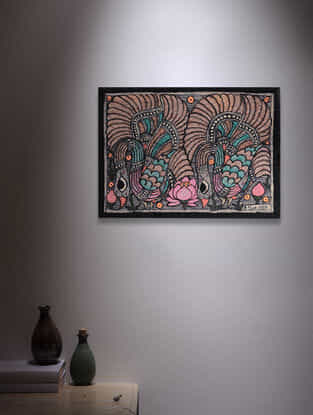 Twin Birds Madhubani Painting - 5.6in x 7.6in