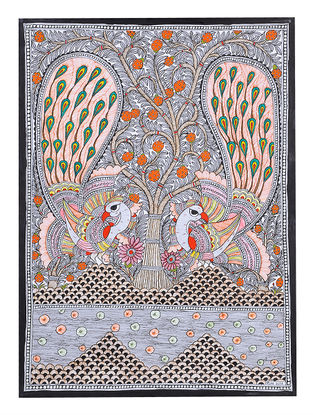 Twin Peacock Madhubani Painting - 30.1in x 22.2in