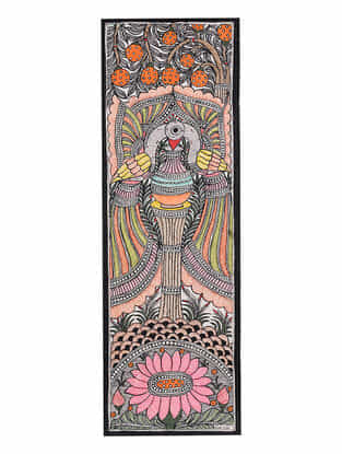 Twin Peacock Madhubani Painting - 22.8in x 7.8in