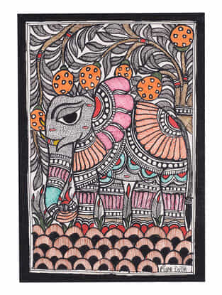 Elephant Madhubani Painting - 7.8in x 5.5in