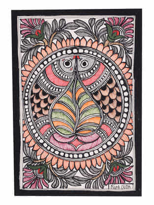 Twin Fish Madhubani Painting - 7.6in x 5.5in