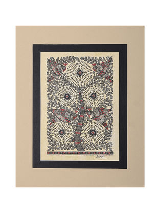 Tree of Life Mounted Madhubani Painting - 11in x 9.2in