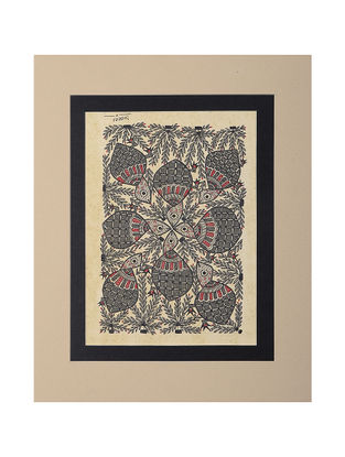 Mounted Madhubani Painting - 11in x 9in
