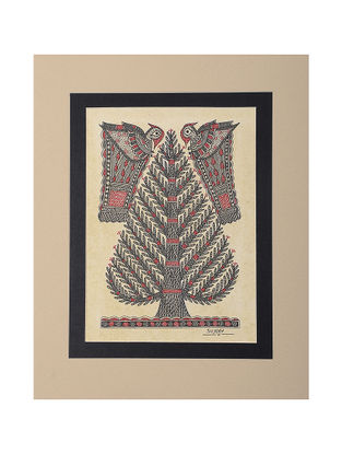 Tree of Life Mounted Madhubani Painting - 11in x 9in