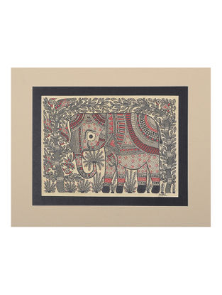 Elephant Mounted Madhubani Painting - 9.1in x 11in