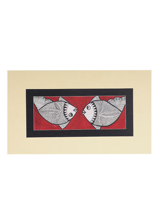 Fish Mounted Madhubani Painting - 6.5in x 11.2in