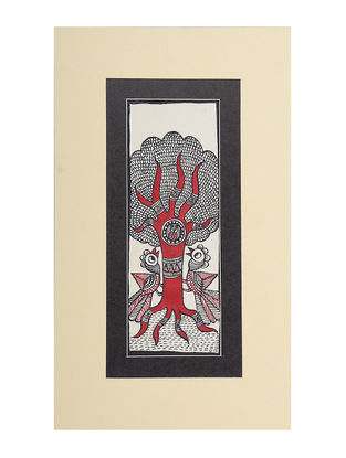 Tree of Life Mounted Madhubani Painting - 11in x 6.5in
