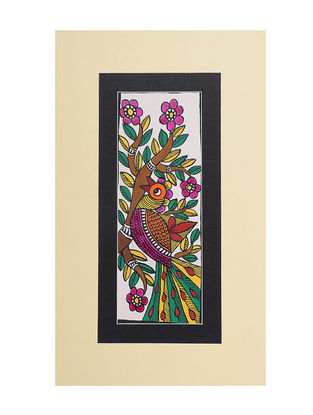 Peacock Mounted Madhubani Painting - 6.5in x 11in