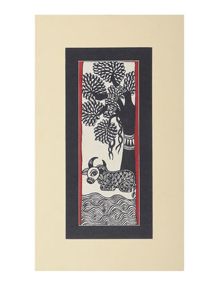 Mounted Madhubani Painting - 11in x 6.5in