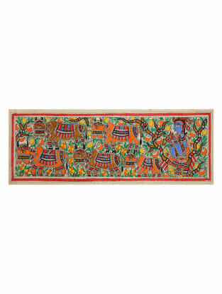 Krishna with Cow Madhubani Painting (7.5in x 22.2in)