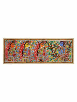 Krishna Radha Madhubani Painting (7.5in x 22in)