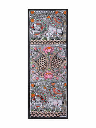 Fish Elephant Cow Madhubani Painting (22in x 7.5in)