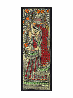 Village Lady Madhubani Painting (15in x 5.6in)