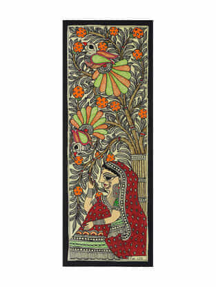 Village Lady Madhubani Painting (15in x 5.5in)