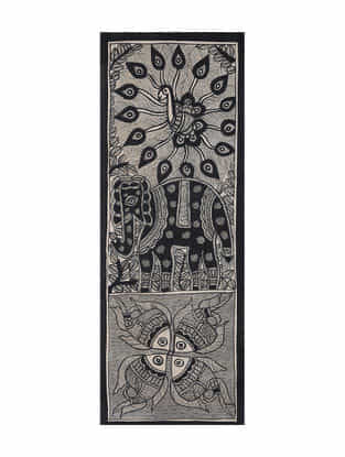 Fish and Elephant Madhubani Painting (15in x 5.5in)
