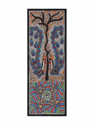 Fish with Peacock Madhubani Painting (15in x 5.5in)