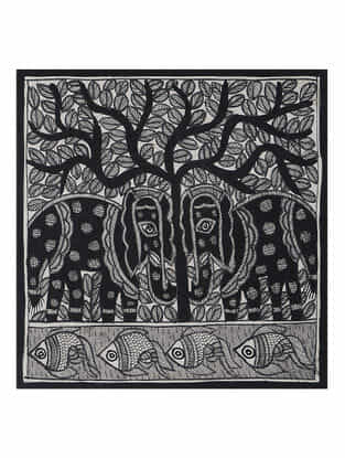 Tree of Life with Fish Madhubani Painting (7.5in x 7.5in)