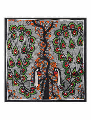 Peacock Madhubani Painting (7.5in x 7.5in)