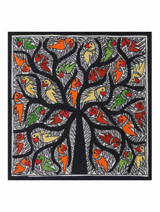 Tree of Life Madhubani Painting (7.5in x 7.5in)