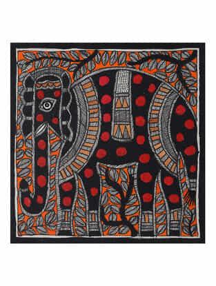 Elephant Madhubani Painting (7.5in x 7.5in)