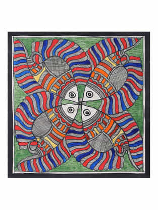 Fish Madhubani Painting (7.2in x 7.5in)