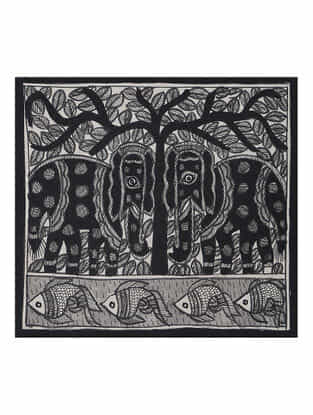 Tree of Life with Elephant Madhubani Painting (7.5in x 7.5in)