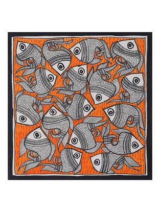 Fish Madhubani Painting (7.7in x 7.5in)