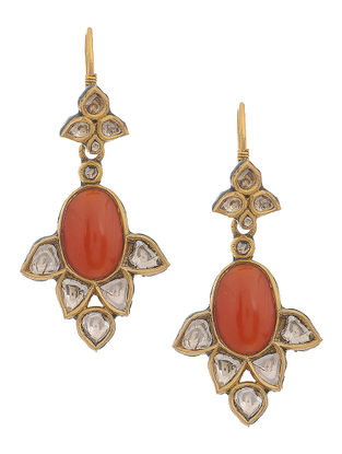 Red-Green Enameled Polki Gold Earrings with Coral