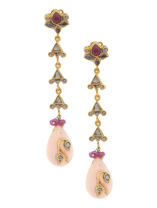 Red-Green Enameled Polki Gold Earrings with Ruby and Pink Opal