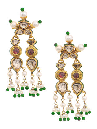Red-Green Enameled Polki Gold Earrings with Ruby and Pearls