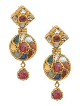 Navaratna Polki Gold Earrings