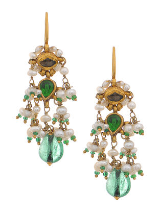 Emerald Gold Earrings with Pearls