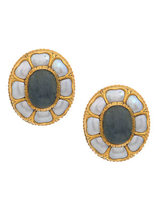 Blue Sapphire Gold Earrings with Pearls