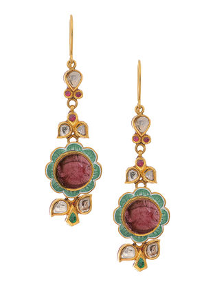 Red-Green Enameled Polki Gold Earrings with Emerald and Tourmaline